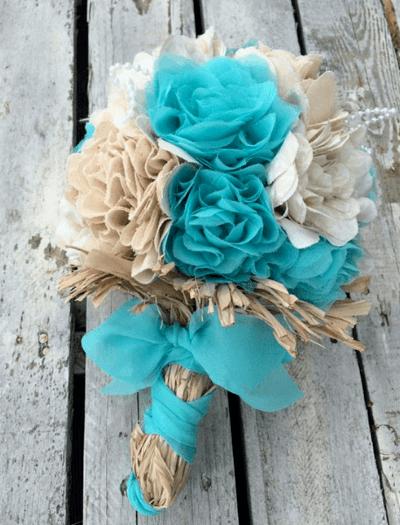 букет невесты в бирюзовых тонах