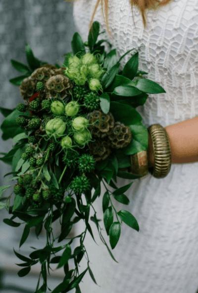 свадебный букет с зеленью