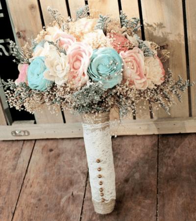 свадебный букет мятного цвета