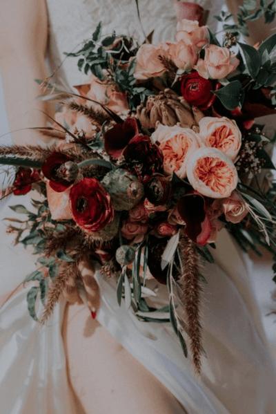 букет свадебный бордо