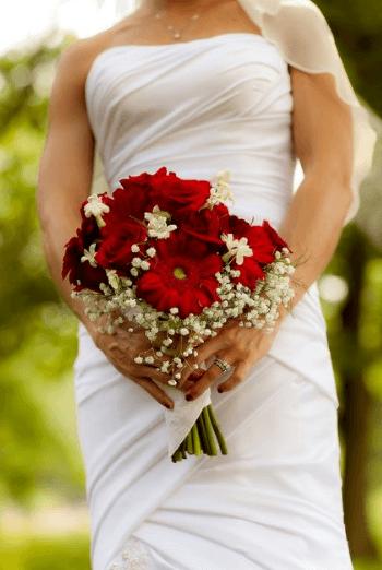 букет свадебный желто красный
