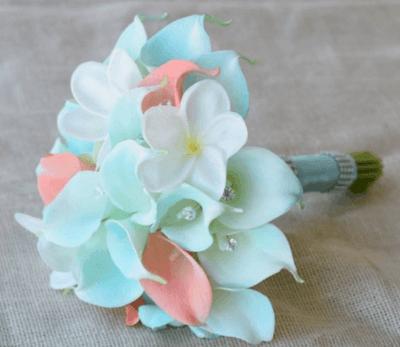 свадебный букет в мятном цвете