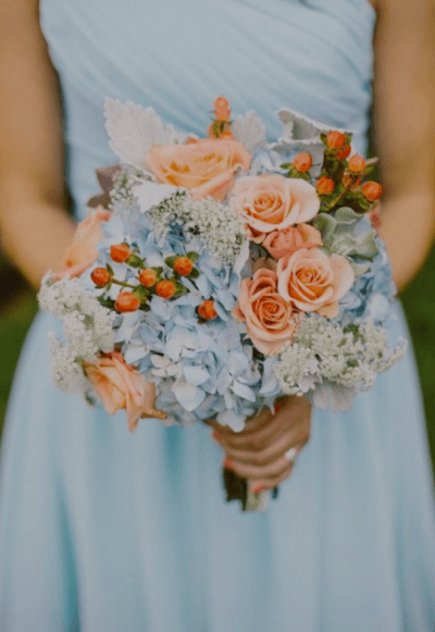 букеты невесты в голубом цвете