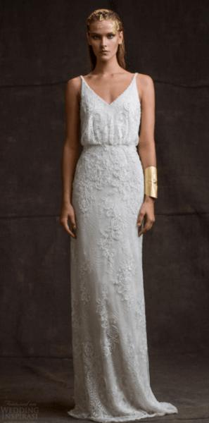 прямое белое свадебное платье