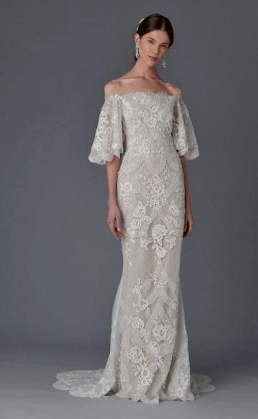 прямые свадебные платья с рукавами