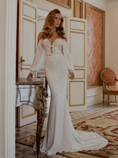 свадебные платья рыбка кружевное с рукавами