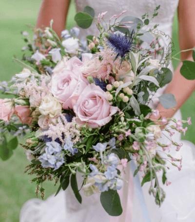 свадебные букеты в розовых тонах