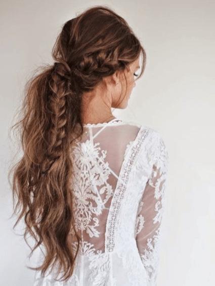 свадебные прически косы с челкой