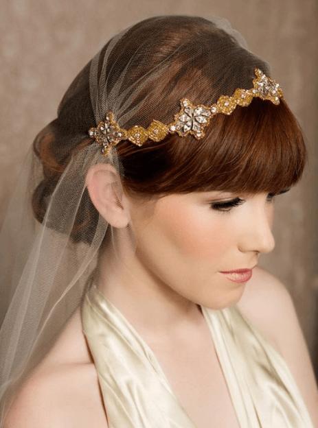 свадебные прически с челкой и фатой
