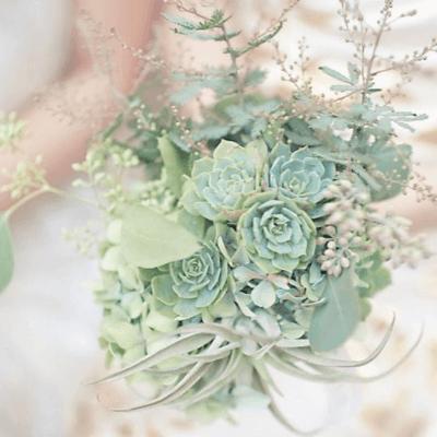букеты невесты в мятном цвете