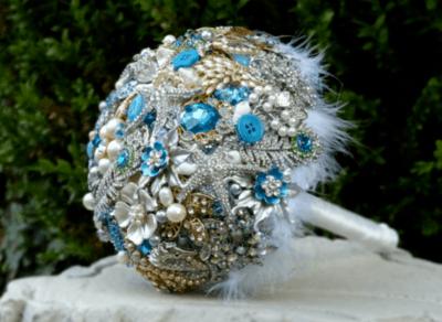свадебные букеты с бирюзой