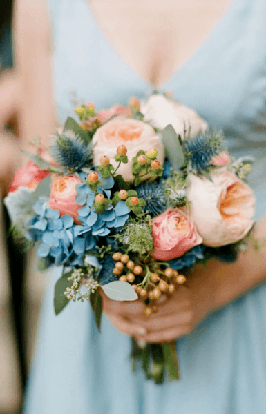 свадебный букет невесты бирюзовый цвет