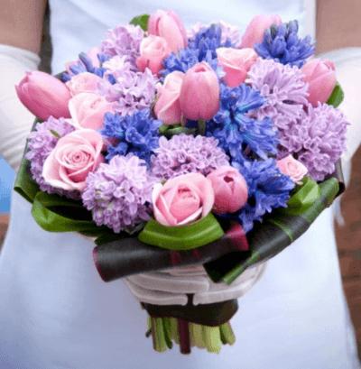 свадебный букет в сиреневом цвете