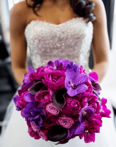 букет невесты в сиреневых тонах