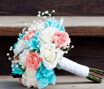 бирюзовый цвет свадебный букет букет невесты в бирюзовом цвете