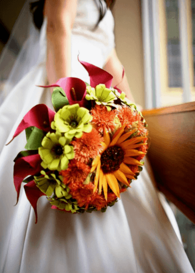 свадебные осенние букеты