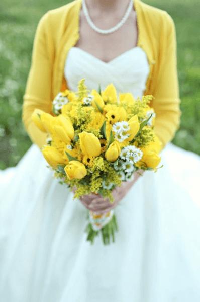 свадебный букет в желтых тонах