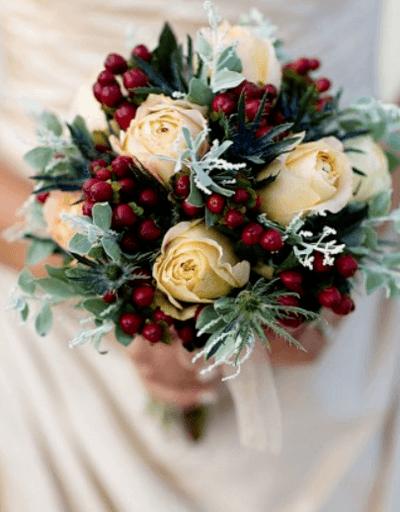 зимний свадебный букет невесты