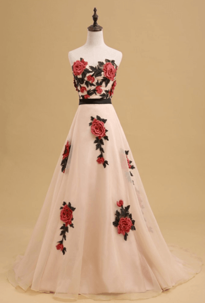 бело красное свадебное платье