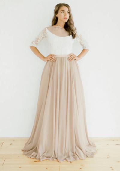 свадебные платья бежевого цвета фото