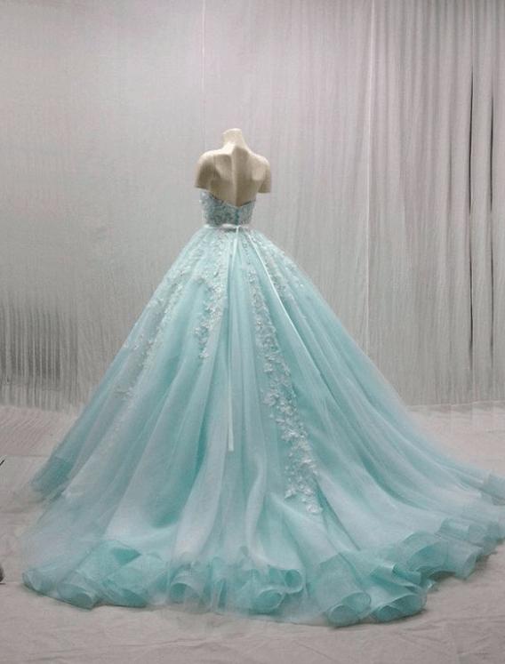 бирюзовое свадебное платье фото
