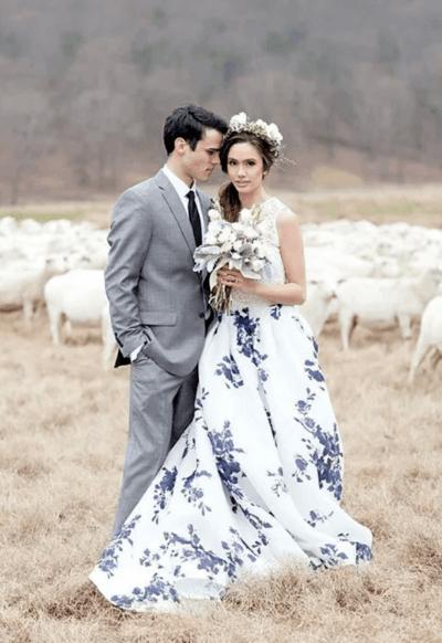 свадебные платья с цветными элементами