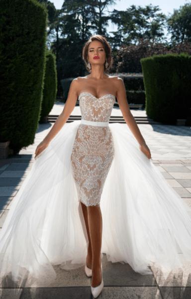 свадебное платье футляр кружево с рукавом