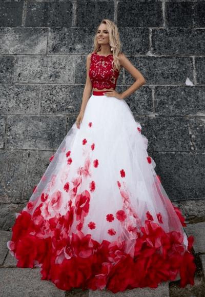 красное белое свадебное платье