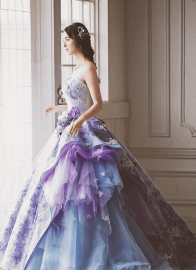 сиреневое свадебное платье