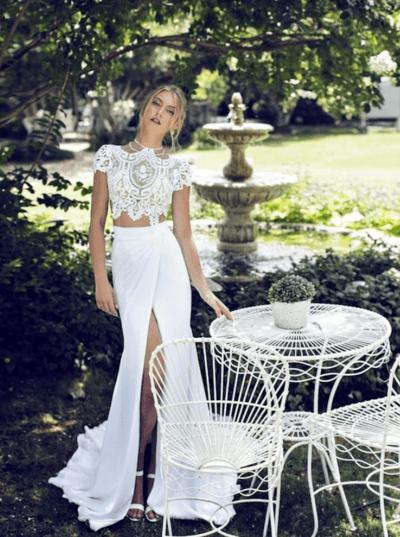 раздельное свадебное платье топ и юбка