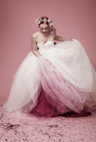 розовое свадебное платье фото