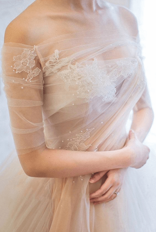 шифоновое свадебное платье фото