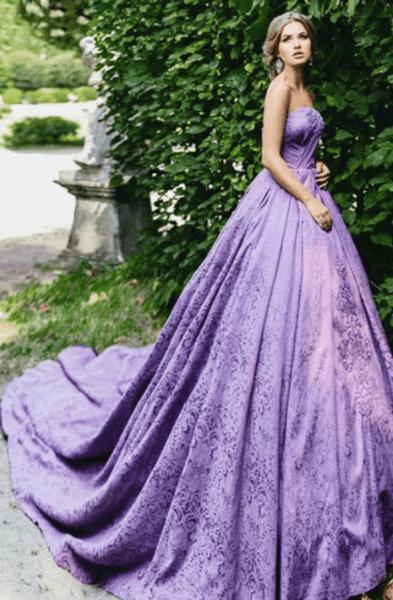 сиреневое свадебное платье фото