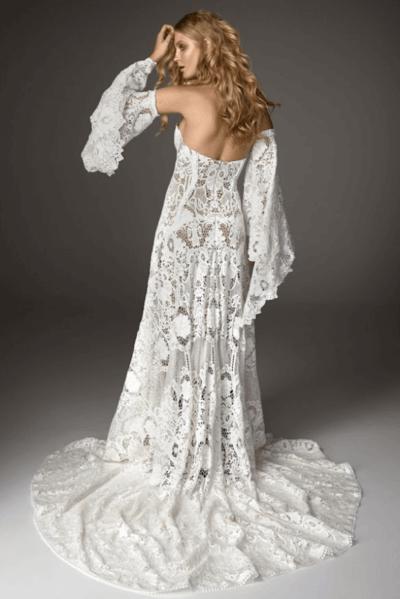 вадебное платье связанное в стиле ирландского кружева
