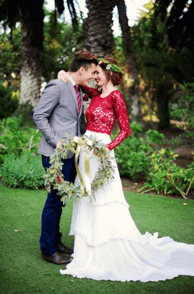 свадебное платье с топом и юбкой