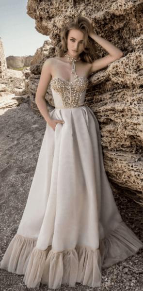 свадебное платье пышное шампань