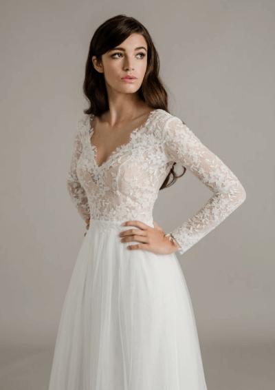 свадебные платья гипюровые с рукавами