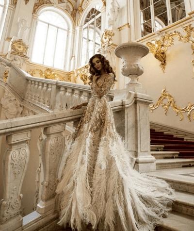 золотое свадебные платья фото