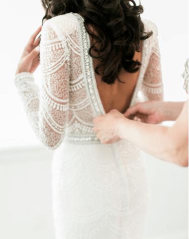 вышивка бисером свадебных платьев