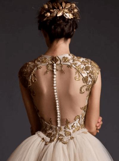 свадебные платья с вышивкой золотой