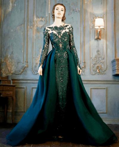 зеленое свадебное платье фото