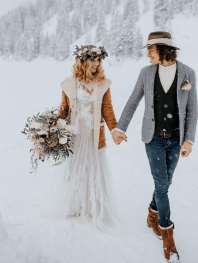 свадебные зимние платья фото