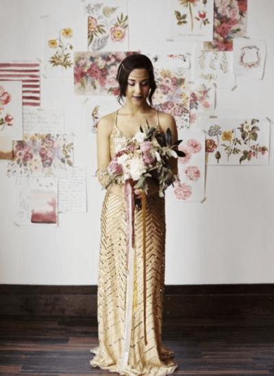 золотые платья подружек невесты