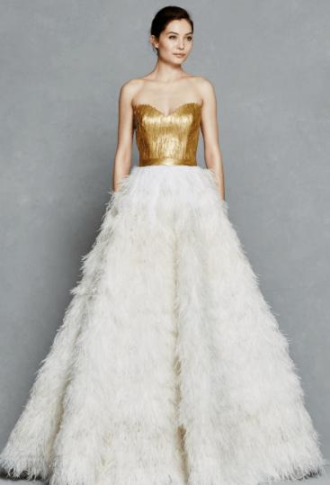 свадебное платье белое с золотым
