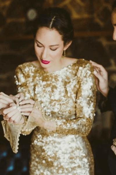 свадебные платья золотого цвета