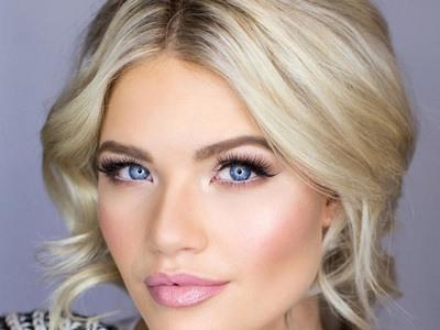свадебный макияж для блондинок с зелеными