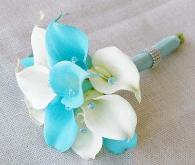 бирюзовый цвет свадебный букет