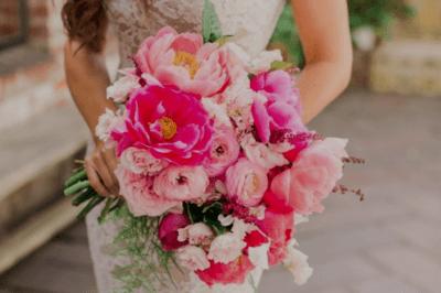 свадебный букет в розовом цвете