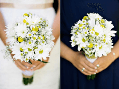 Интересные идеи для букета невесты с ромашками