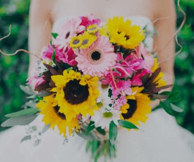 желтый букет невесты